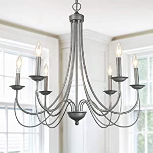 "LOG BARN 6 Lights French Country Shabby Chic Metal Chandelier in Antique Brush Dark Silver Finish, 27.6"" Living Room Pendant Light Fixture, A03329"