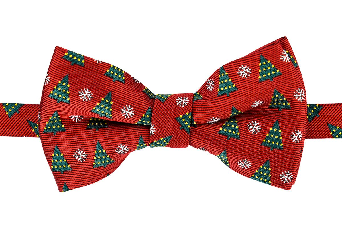 Retreez Christmas Tree and Snowflakes Woven Microfiber Pre-tied Boy's Bow Tie - Red, Christmas Gift - 4-7 years