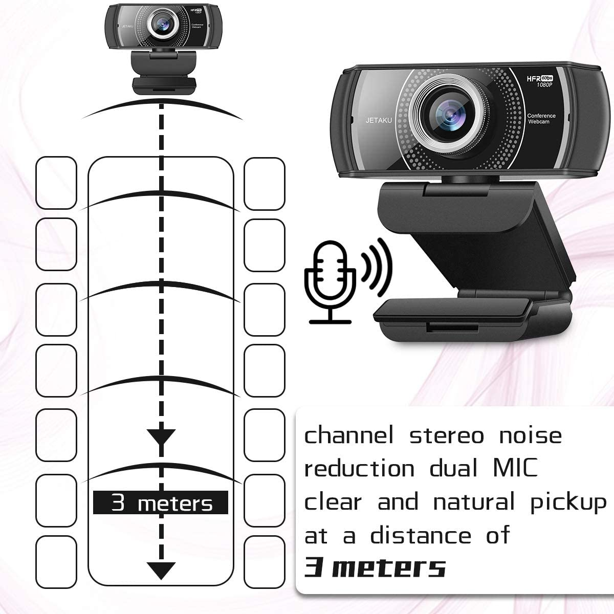 Webcam 1080P 60fps with Microphone for Streaming JETAKu 920Phro HD USB Computer Web Camera Video Cam for Gaming Conferencing Mac Windows Desktop PC Laptop