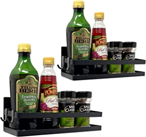 Sorbus Magnet Spice Rack Organizer for Refrigerator, Magnetic Storage Shelf with Paper Towel Holders and 5 Hooks, Multi-purpose (Black, 2-Pack)