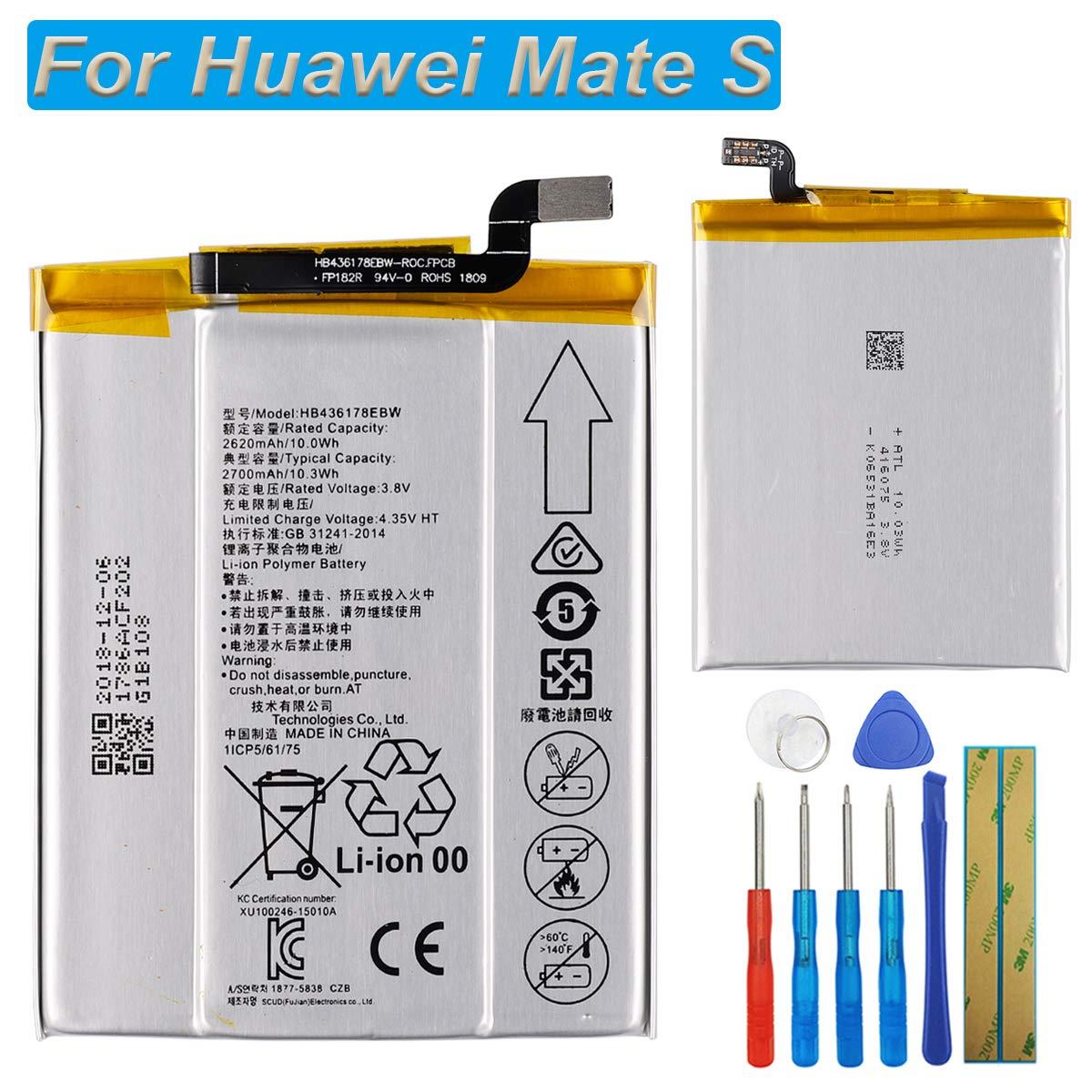 Bater/ía de Repuesto para Huawei Mate S CRR-CL00 CRR-CL20 CRR-L09 CRR-UL00 E2629 con Herramientas E-yiviil HB436178EBW