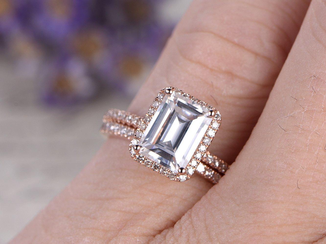Amazon.com: 2pcs Wedding Ring Set, 6x8mm Emerald Cut 1.8ct VS White ...