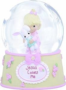 Precious Moments,Jesus Loves Me, Resin/Glass Snow Globe, Girl, Musical, 132102