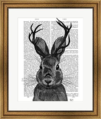 3739b327cdd4 Amazon.com  Jackalope with Grey Antlers by Fab Funky Framed Art ...