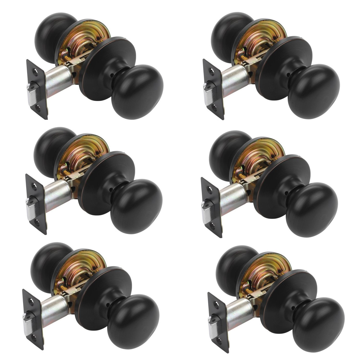 Dynasty Hardware TAH-82-12P Tahoe Door Knob Passage Set, Aged Oil Rubbed Bronze, Contractor Packs (6 Pack)