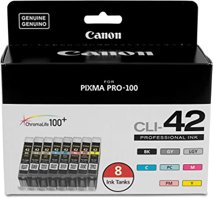 24 Pack Combo Ink Set for CLI-42 Canon Pixma Pro-100 BK C M Y PC PM GY LGY