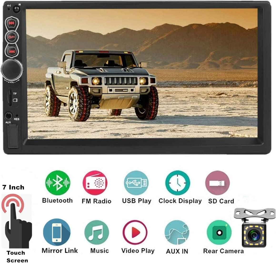 Double Din Car Stereo Bluetooth,7 inch HD Touch Screen Car MP5 Player,Car Audio FM Radio USB//SD//AUX Input,Smartphone Mirror Link,Support Backup Camera and Steering Wheel Control