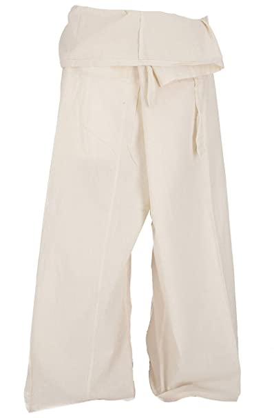 GURU-SHOP, Pantalón de Pesca Tailandés de Algodón, Pantalón Envolvente, Pantalón de Yoga, Azul, Tamaño:One Size, 3/4 Fisherman Hosen