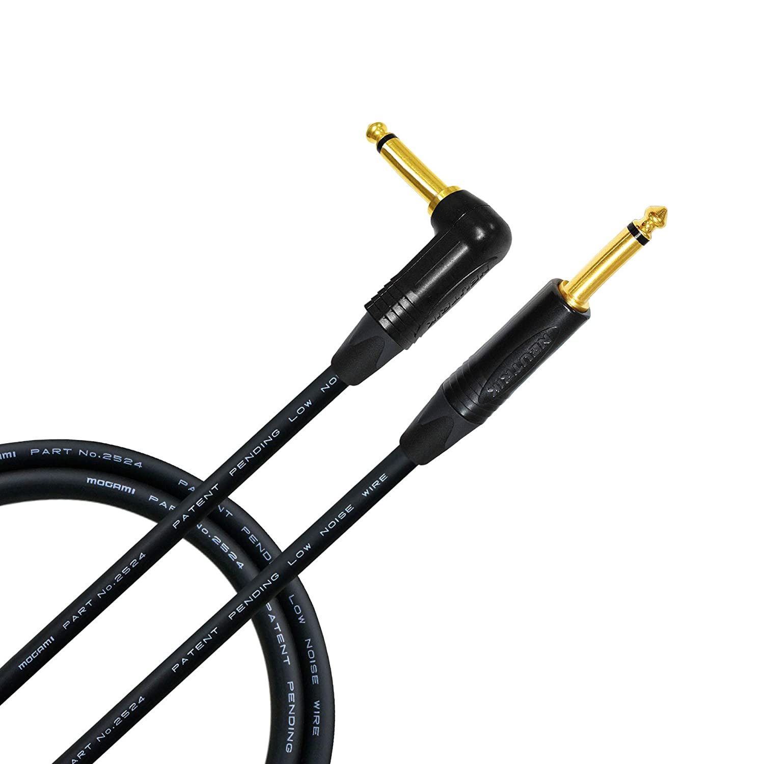 2 Foot - Guitar Bass Instrument Cable CUSTOM MADE By WORLDS BEST CABLES – using Mogami 2524 wire and Neutrik NP2RX-B & NP2X-B ¼ Inch (6.35mm) Gold TS ...