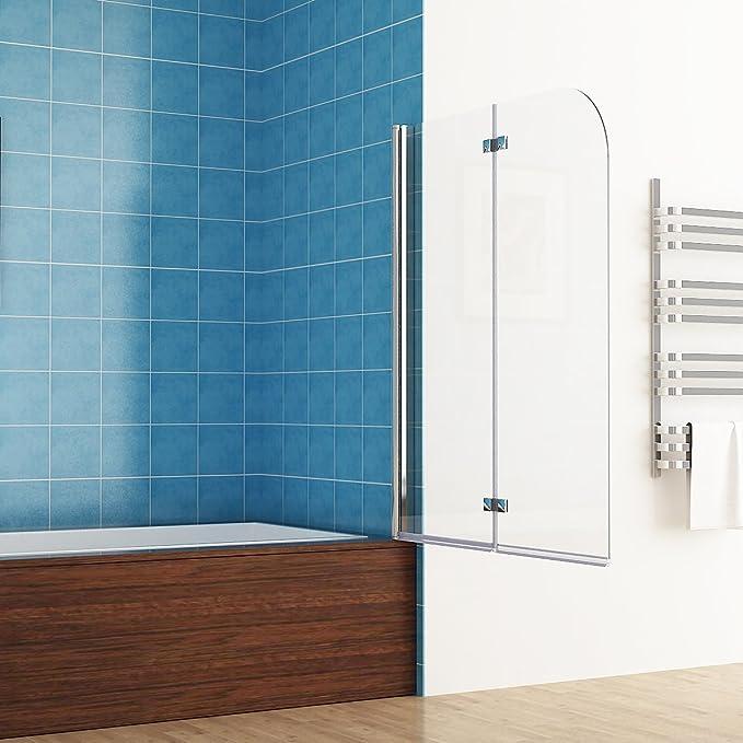 MIQU Mampara Plegable para bañera (100 x 140 cm, 2 Piezas, Plegable 180º, Cristal Nano): Amazon.es: Hogar