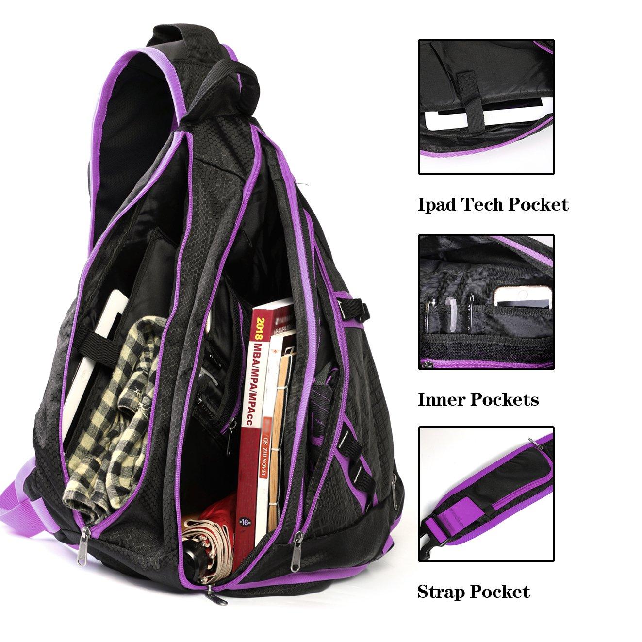 SEEU 32L Oversized Sling Bag Backpack with Shoe Pocket Lightweight Shoulder Crossbody Backpack Chest Bag Gym Backpack for Men /& Women Crossbody Chest Gym Backpack Outdoor Hiking Travel Bag for Men Women Kids