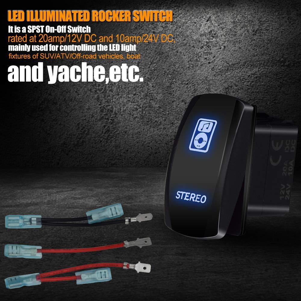 T Former Laser Stereo Led Light Bar Rocker Switch Wiring On Off Spst Jumper Wires 20a 12v Blue Automotive