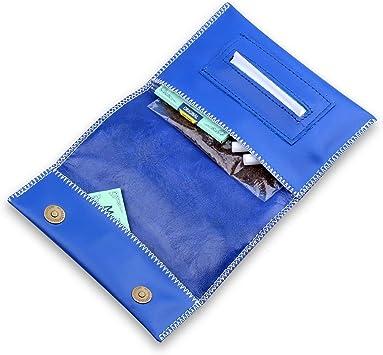 Cartera de piel para guardar el paquete de picadura de tabaco, con ranura para el papel de liar (azul-2): Amazon.es: Deportes y aire libre
