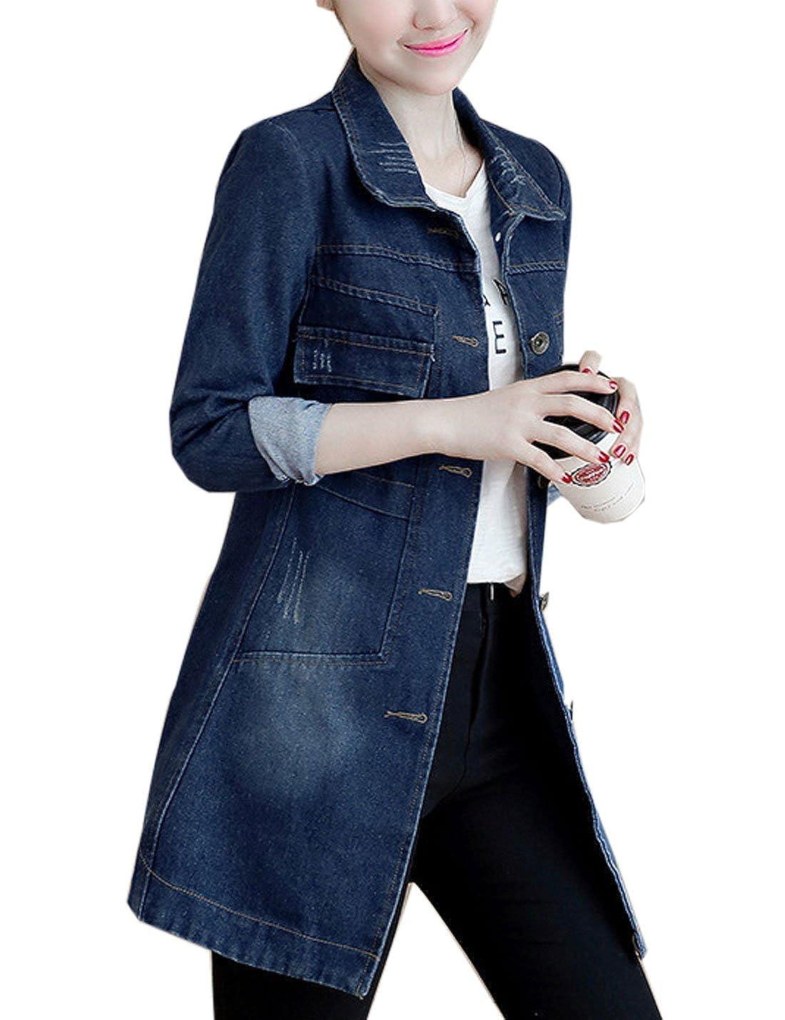 Yeokou Womens Casual Slim Mid Long Denim Jean Windbreaker Jacket Trench Coat