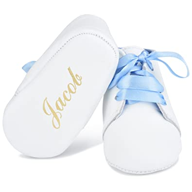 3e07ef92c174 Image Unavailable. Image not available for. Color  Babyshoe.com  Personalized Leather Newborn Lace Up Shoes with Blue ...