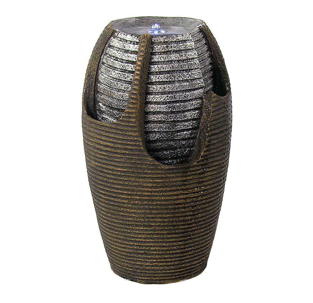 Sunnydaze Bubbling Pot Solar Power Outdoor Water Fountain with LED Light, Silver Accents, 22 Inch Tall - Overall Measurements: 22 inches tall x 12.5 inch diameter and weighs 11.2 pounds. Includes solar panel and pump, with battery pack; A 16 foot cord attaches the panel to pump so you can place it in optimal sun position. Constructed of durable resin and fiberglass to withstand any weather conditions yet easy enough to move (Please note: It is always recommended that you bring this fountain indoors or completely empty, dry and cover it when the temperature is below freezing.) - patio, outdoor-decor, fountains - 714OSiGNoGL -