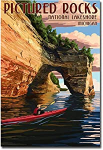 "Pictured Rocks National Lakeshore, Michigan Travel Art Refrigerator Magnet Size 2.5"" x 3.5"""