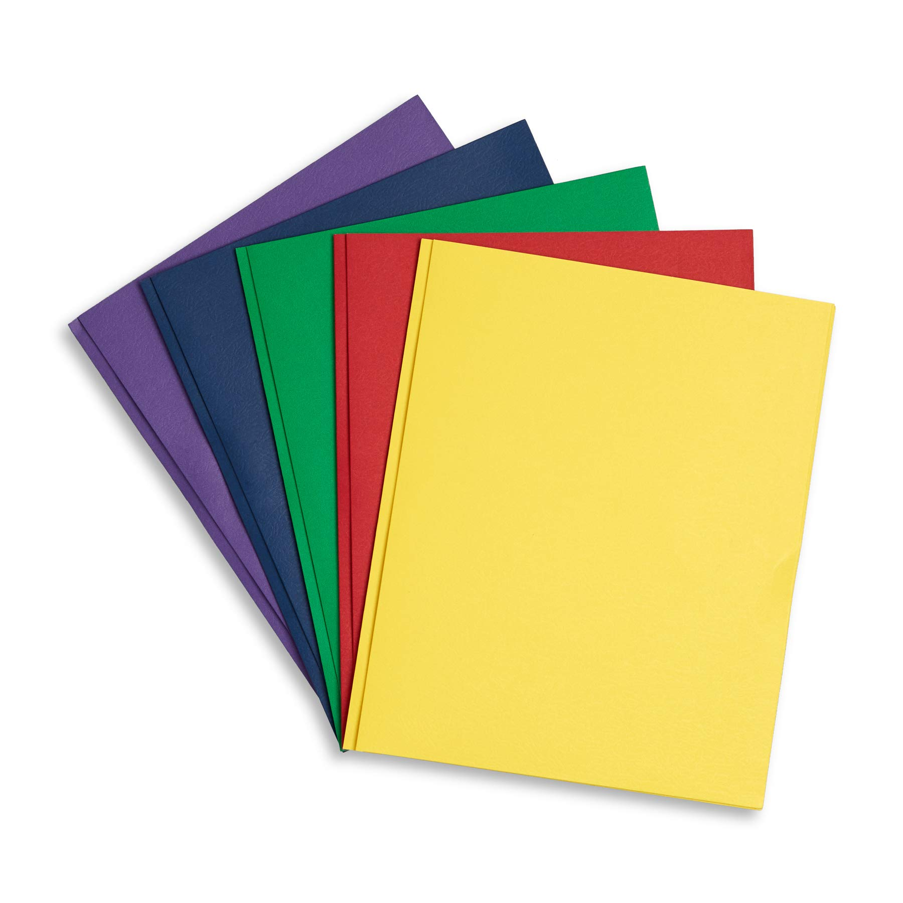 Blue Summit Supplies 100 Two Pocket Folders with Prongs, Designed for Office and Classroom Use, Assorted 5 Colors, 100 Pack Colored 2 Pocket 3 Prong Folders