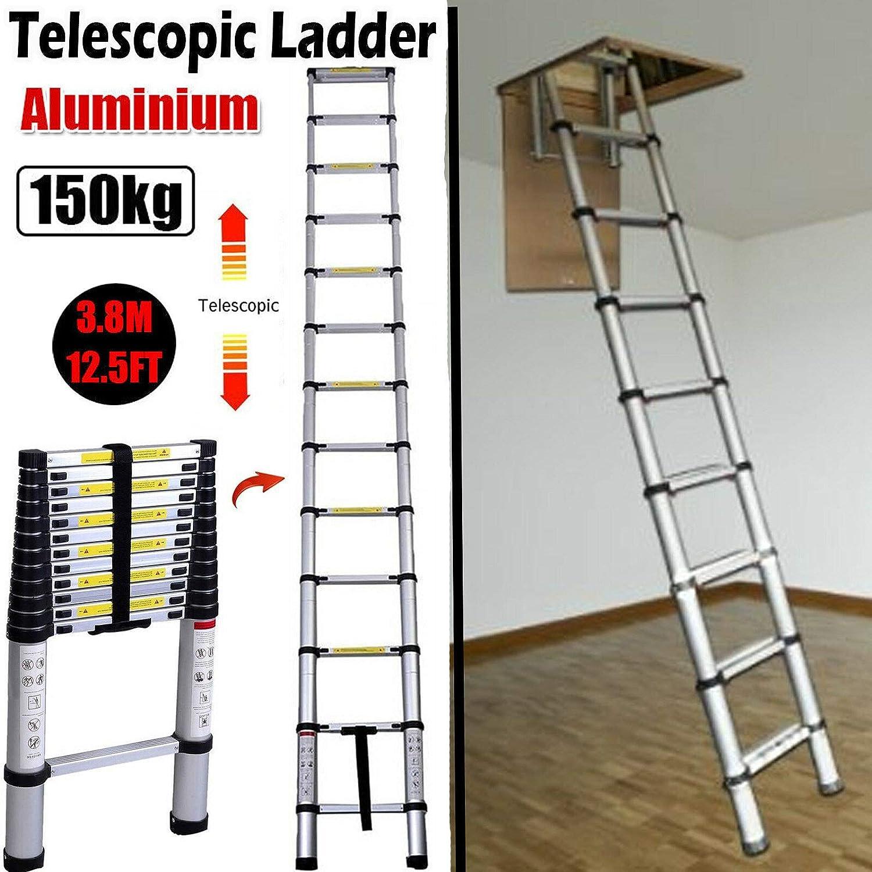 Escalera telescópica de aluminio para techo de 3,8 m, para escalada en el hogar, loft, ático y escalera, EN131: Amazon.es: Bricolaje y herramientas