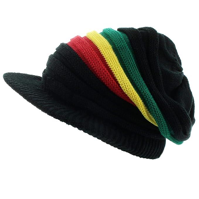 5b4e75af6db Milani Rasta Ribbed and Slouchy Beanie Visor Cap Hat (Black GYR Stripe)