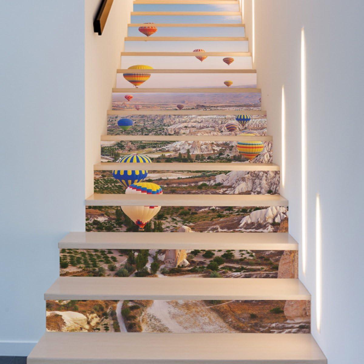 QTZS 3D Turco Globo Aerostático Escalera Decoración del Hogar PVC Renovación Pegatinas De Pared 13 Unids: Amazon.es: Hogar