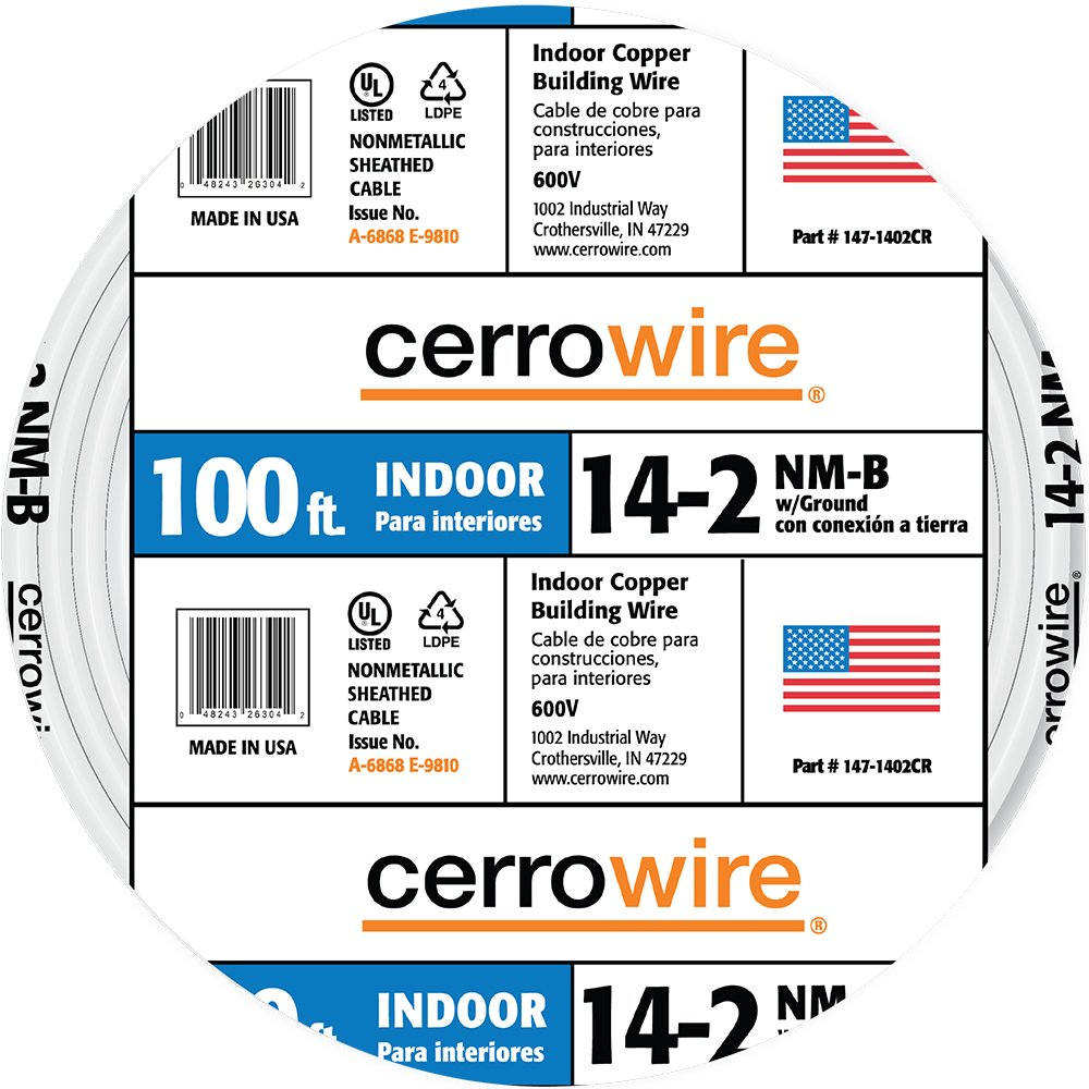 Cerrowire 147-1402CR-3 100-Feet 14/2 NM-B Solid with Ground Wire, White
