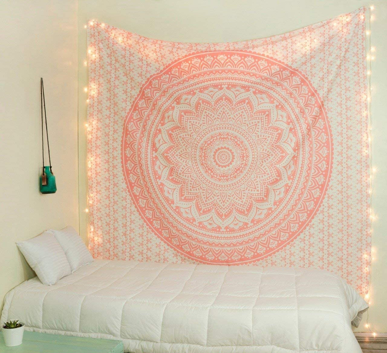 THE ART BOX Tapestry Rose Gold Mandala Wall Hanging Psychedelic Tapestries Indian Cotton Twin Bedspread Picnic Sheet Wall Decor Blanket Wall Art Hippie Bedroom Décor