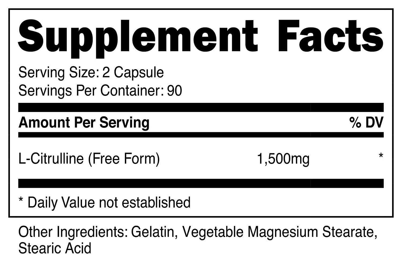 Nutricost L-Citrulline 750mg, 180 Capsules 2 Bottles