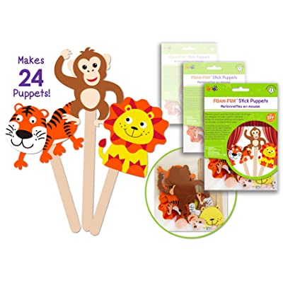 24 Pk Foam Stick Puppets Jungle Animals, Safari Animals Craft Kit, Party Arts & Craft Activity Kit for Boys & Girls , Kids Clean & Neat Fun Self Adhesive Face Stickers - Bulk Pack: Toys & Games [5Bkhe0902986]