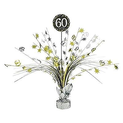 Decoración para Fiesta de cumpleaños para 60 cumpleaños, 1 Pieza, decoración de Mesa, Cascada, Dorado, Negro y Plateado, Juego de decoración de Fiesta Happy Birthday: Juguetes y juegos