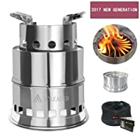 SOLEADER Backpacking Wood Stoves Set Portable Wood Burning Camp Stoves - Compact Gasifier Stove - Twig Stove For Camping, Hiking, Backpacking The 3rd Generation