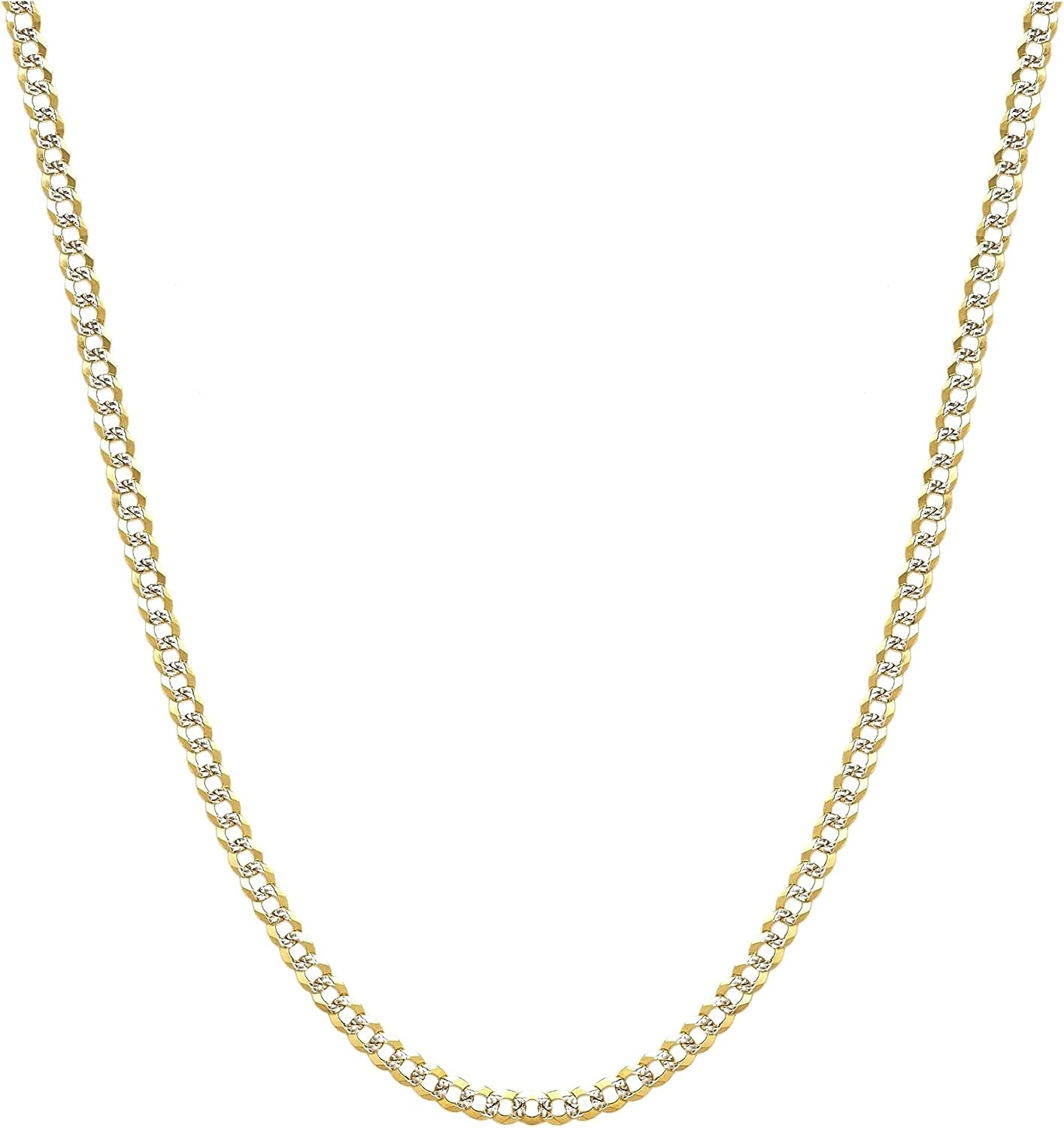 10K Gold 3.5mm Two Tone Cuban Curb Diamond Cut Pave Chain Necklace -Multiple Lengths Available