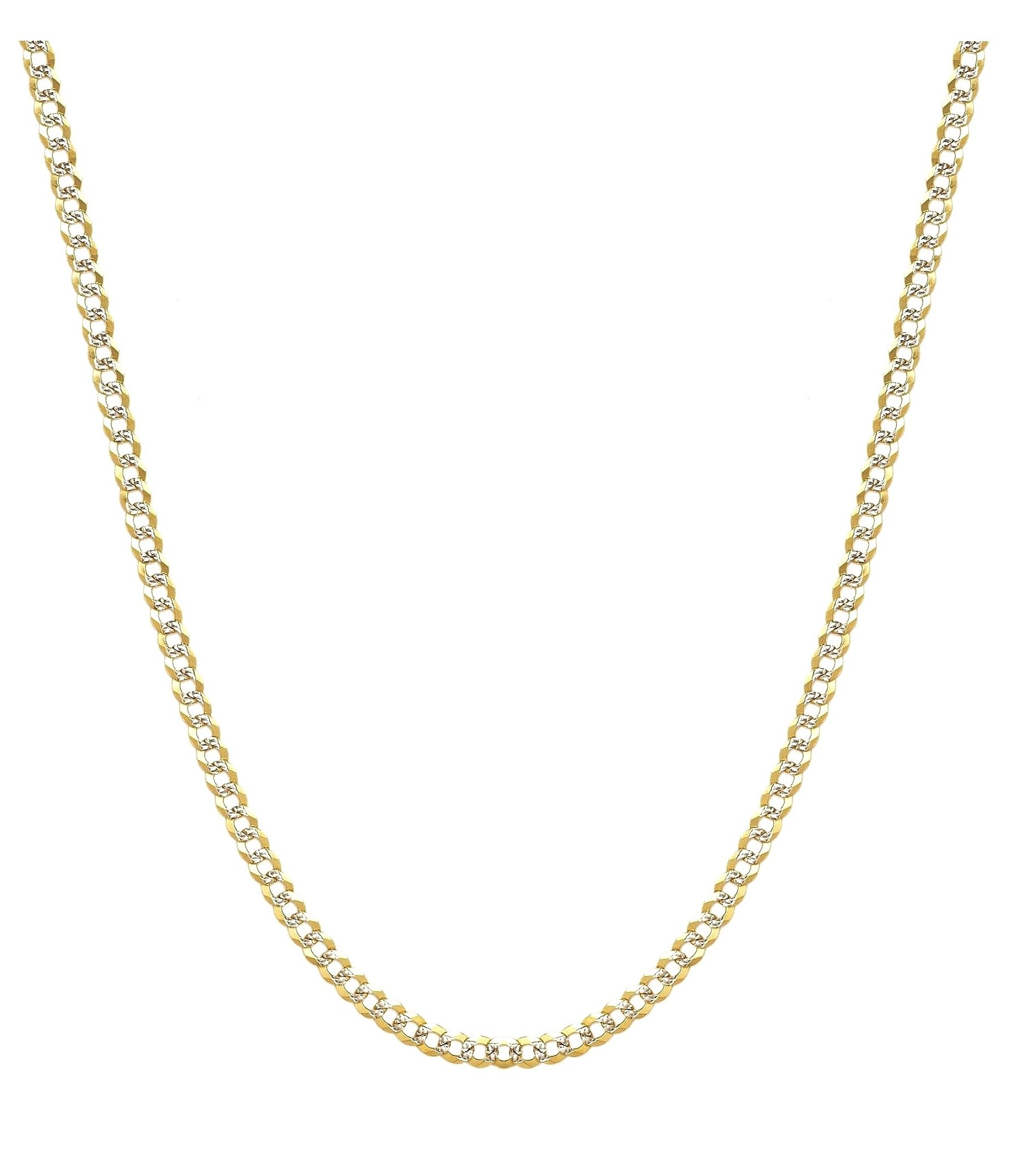 10K Yellow Gold 3.5mm Two Tone Cuban Curb Diamond Cut Pave Chain Necklace -20