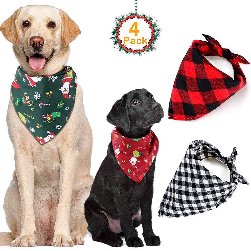VAMEI Mascota Perro Bandana, 4 Pack Pet Christmas Reversible Bufanda para Perros Gatos Traje: Amazon.es: Productos para mascotas