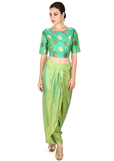 cc84aae85a832 Green crop top Matched with dhoti pants  Amazon.in  Clothing   Accessories