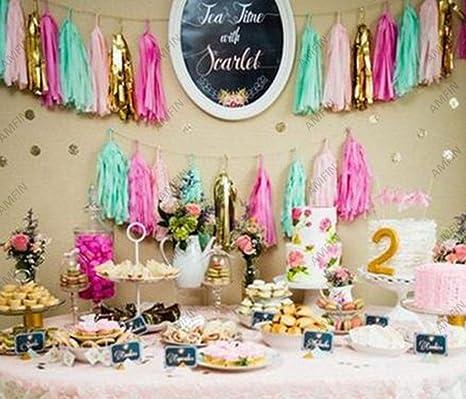 Amfin Tissue Paper Tassels Garland For Birthday Decorations Pink Green