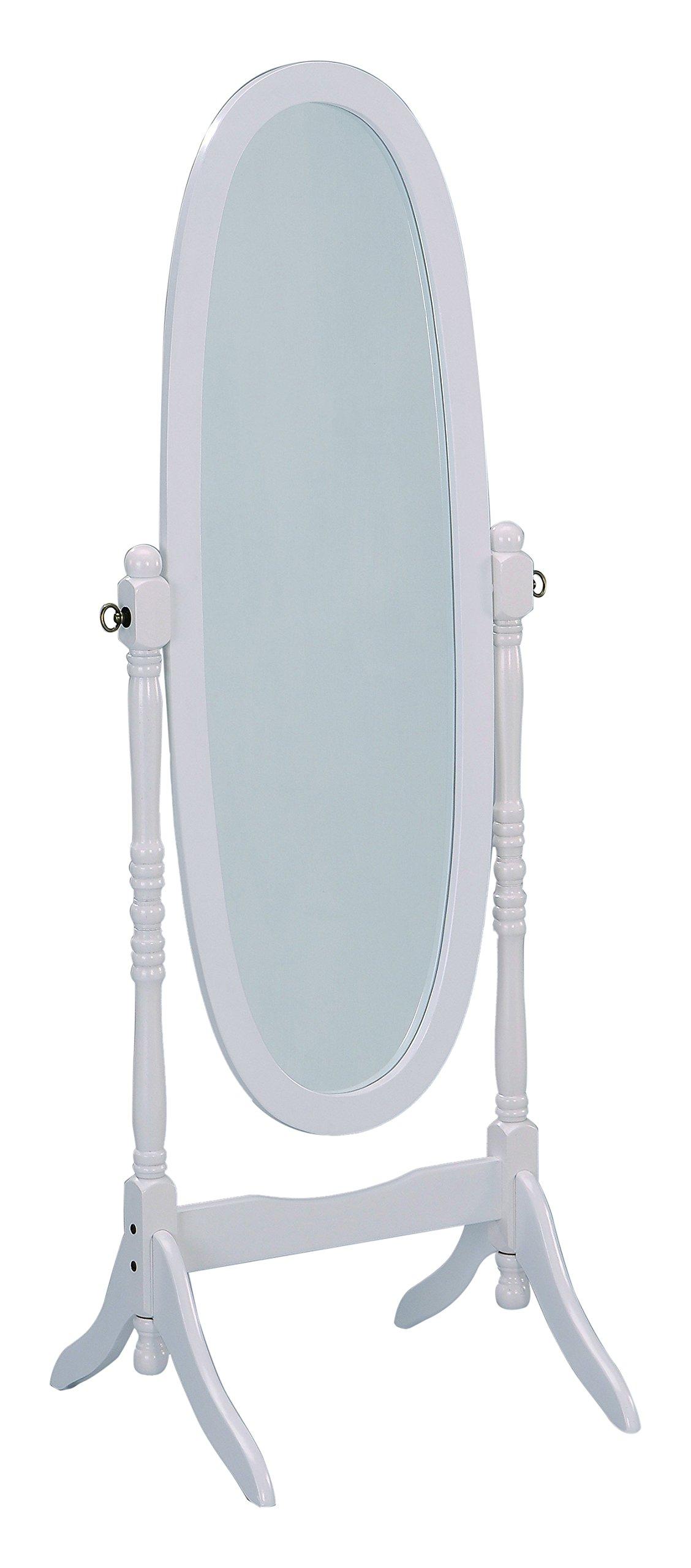 Crown Mark Cheval Mirror, White Finish