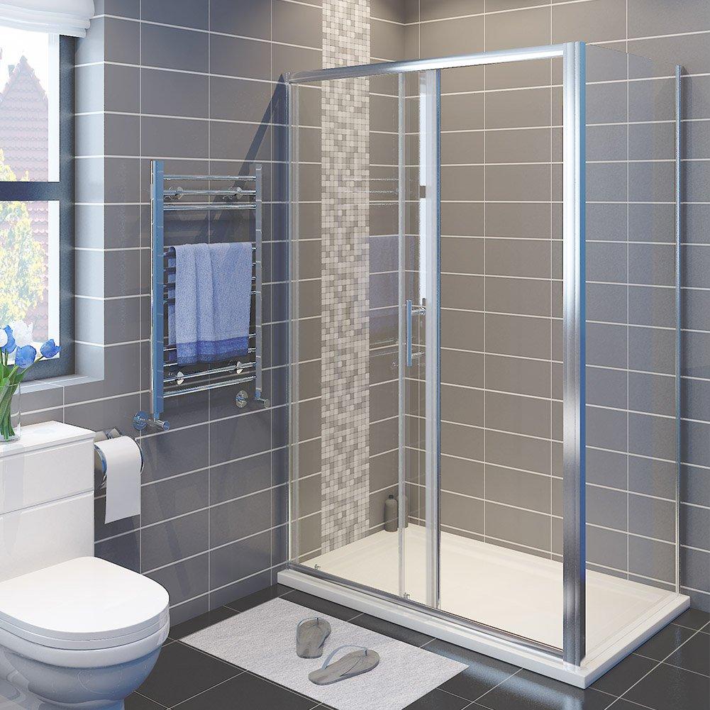 120x80x185cm SIRHONA Porte de douche coulissante paroi de douche pare-douche verre de s/écurit/é