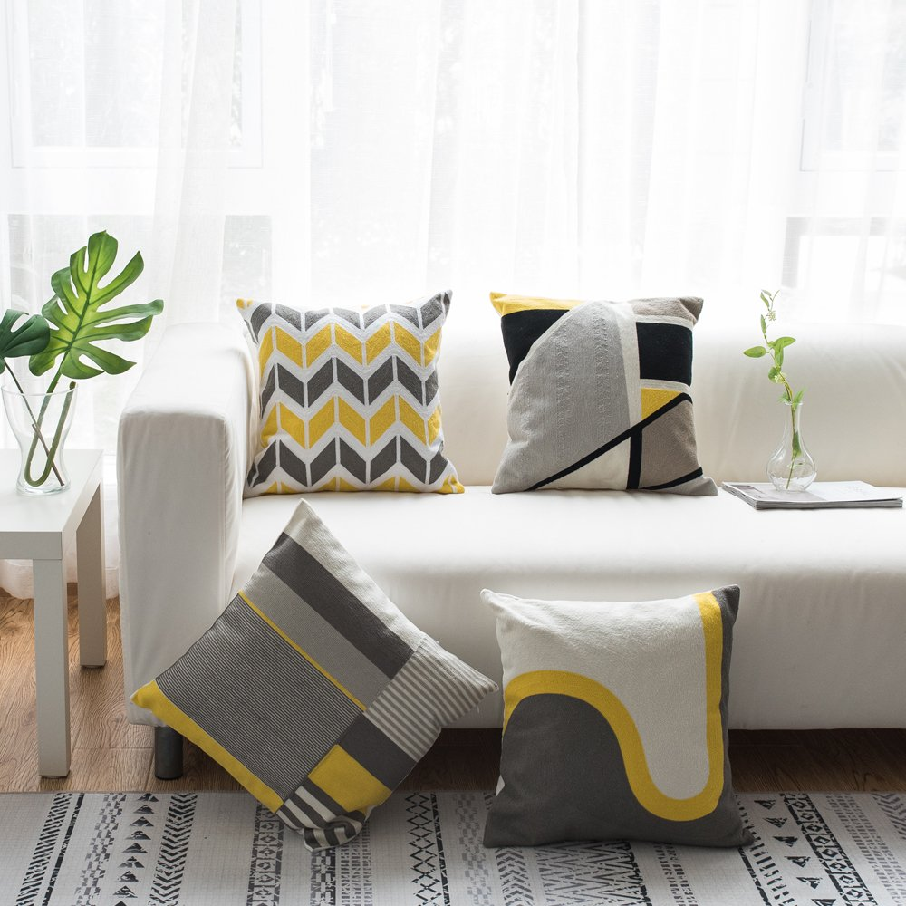 Lananas Modern Decorative Throw Pillow Covers for Couch Geometric Home Cushion Pillow Cover for Bed 18'' x 18'' (Slash) by Lananas (Image #7)