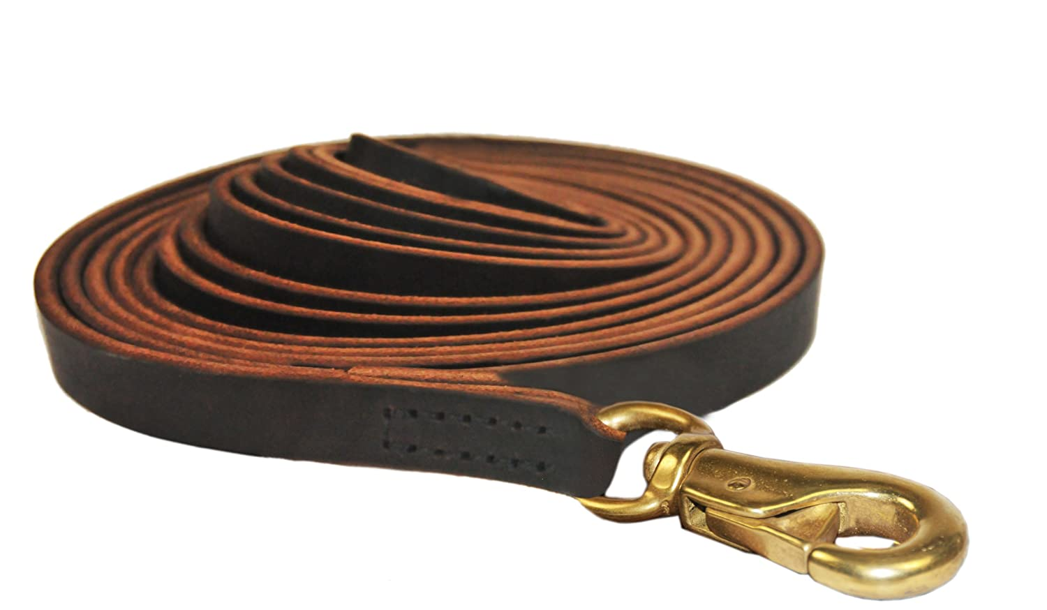 Dean and Tyler Stitched Track Dog Leash, Brown 135-Feet by 3 4-Inch Width with Handle And Massive Brass Hardware