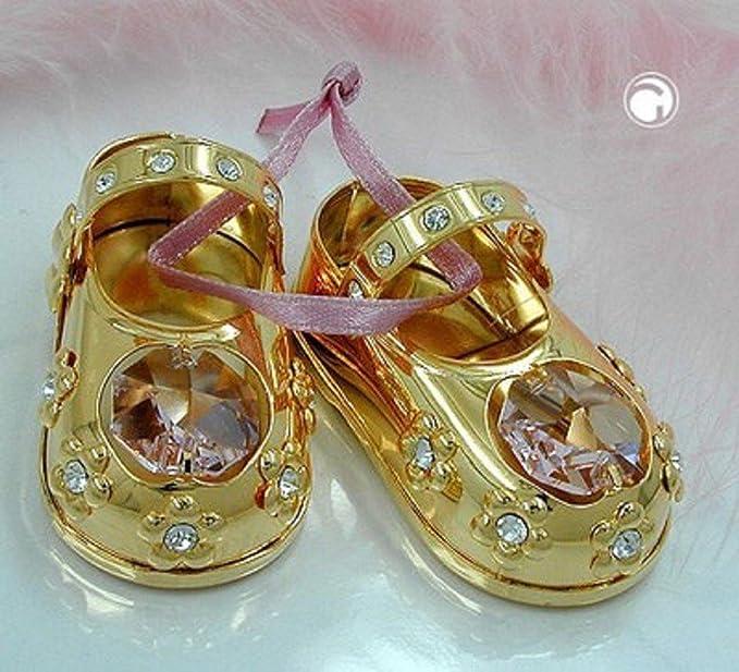 Babyschuhe Mädchen rosa Deko gold-plattiert