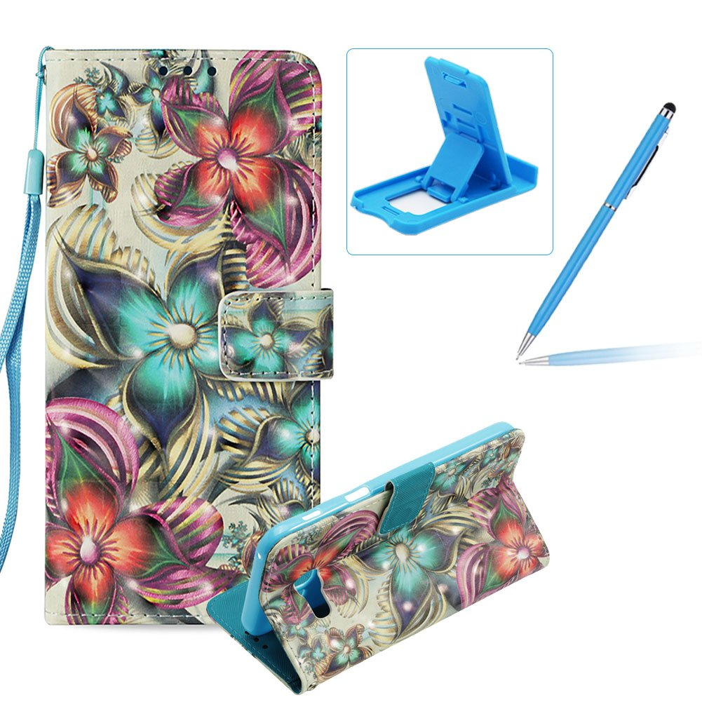 Rope Leather Case for Samsung Galaxy A5 2017 A520,Wallet Leather Case for Samsung Galaxy A5 2017 A520,Herzzer Stylish Luxury 3D Special Effects [Blue Butterfly Pattern] Bookstyle Premium Smart Magnetic Full Body Soft Rubber Flip Stand Case with Card Holder