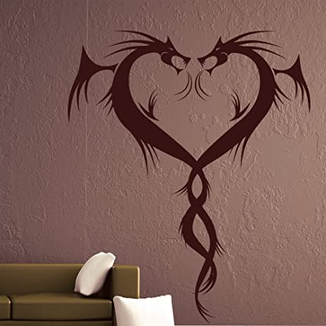 Two Dragons Heart Shaped Twisted Dragon Wall Stickers Home Decor Art Decals  Available In 5 Sizes