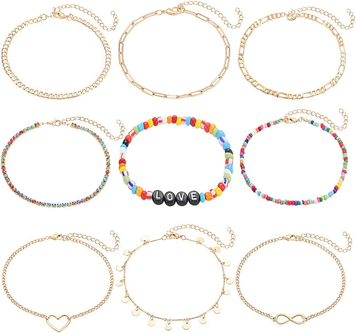 PHALIN 9PCS Boho Anklets for Women Girls Layered Link Chain Ankle Bracelet Set Rainbow Crystal Bead Love Letter Anklets Adjustable Summer Beach Foot Jewelry
