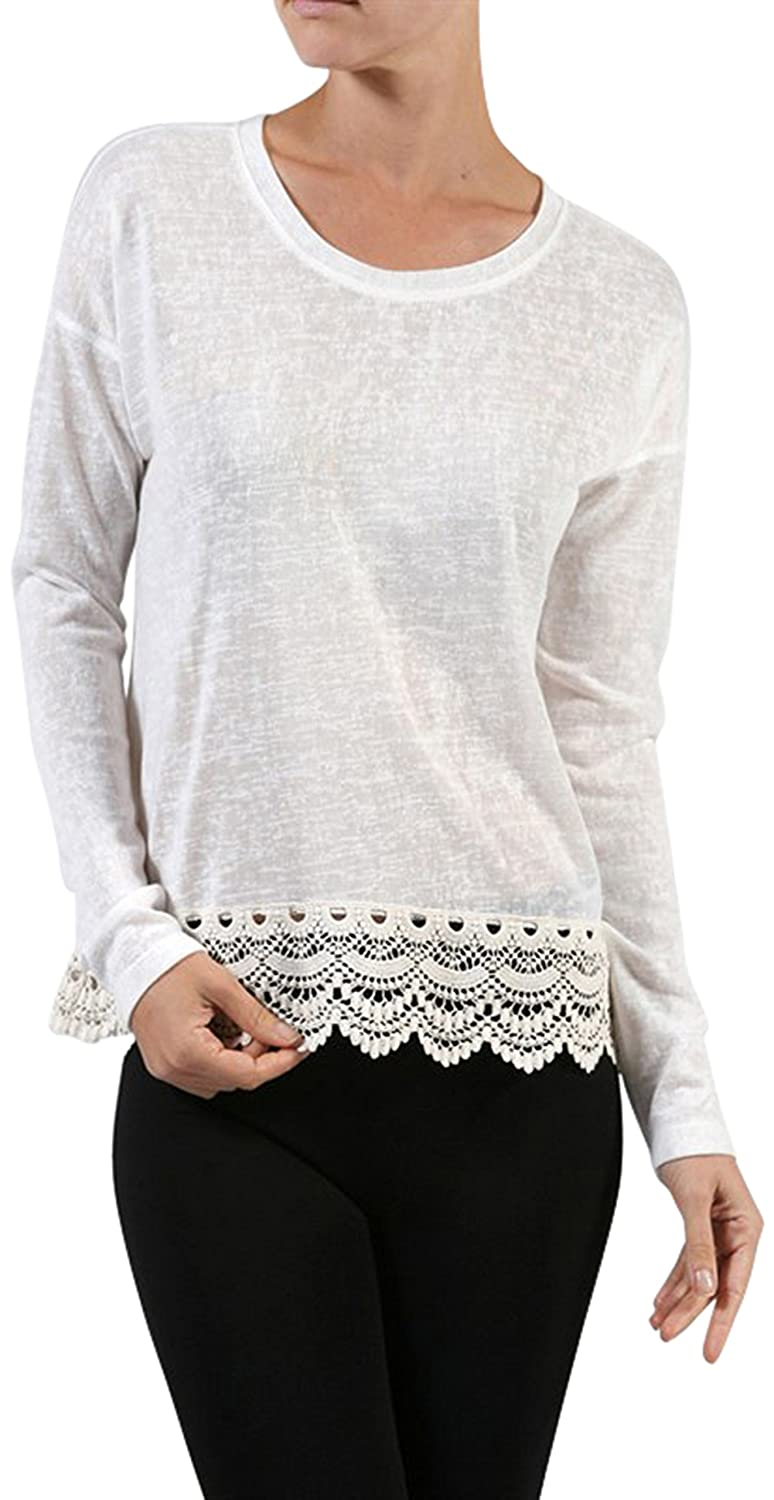 ToBeInStyle Women's Crotched Hem Long Sleeve Round Neck Sweater