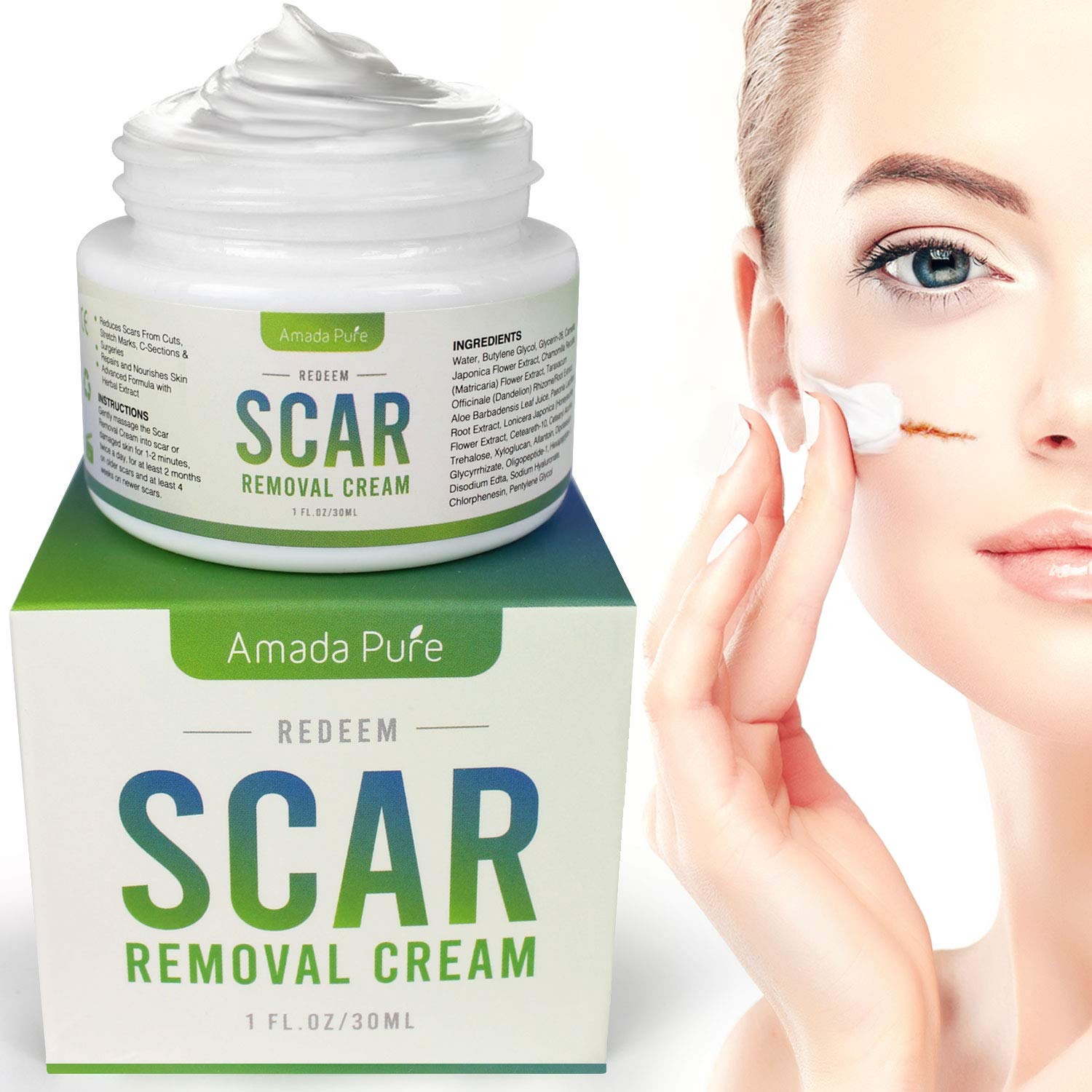 Amada Pure Scar Removal Cream - Acne Scar Removal Cream for Face and Body, Old & New Scars from Cuts, Stretch Marks, C-Sections & Surgeries - with Natural Herbal Extracts Formula - (30 ml) by Amada Pure