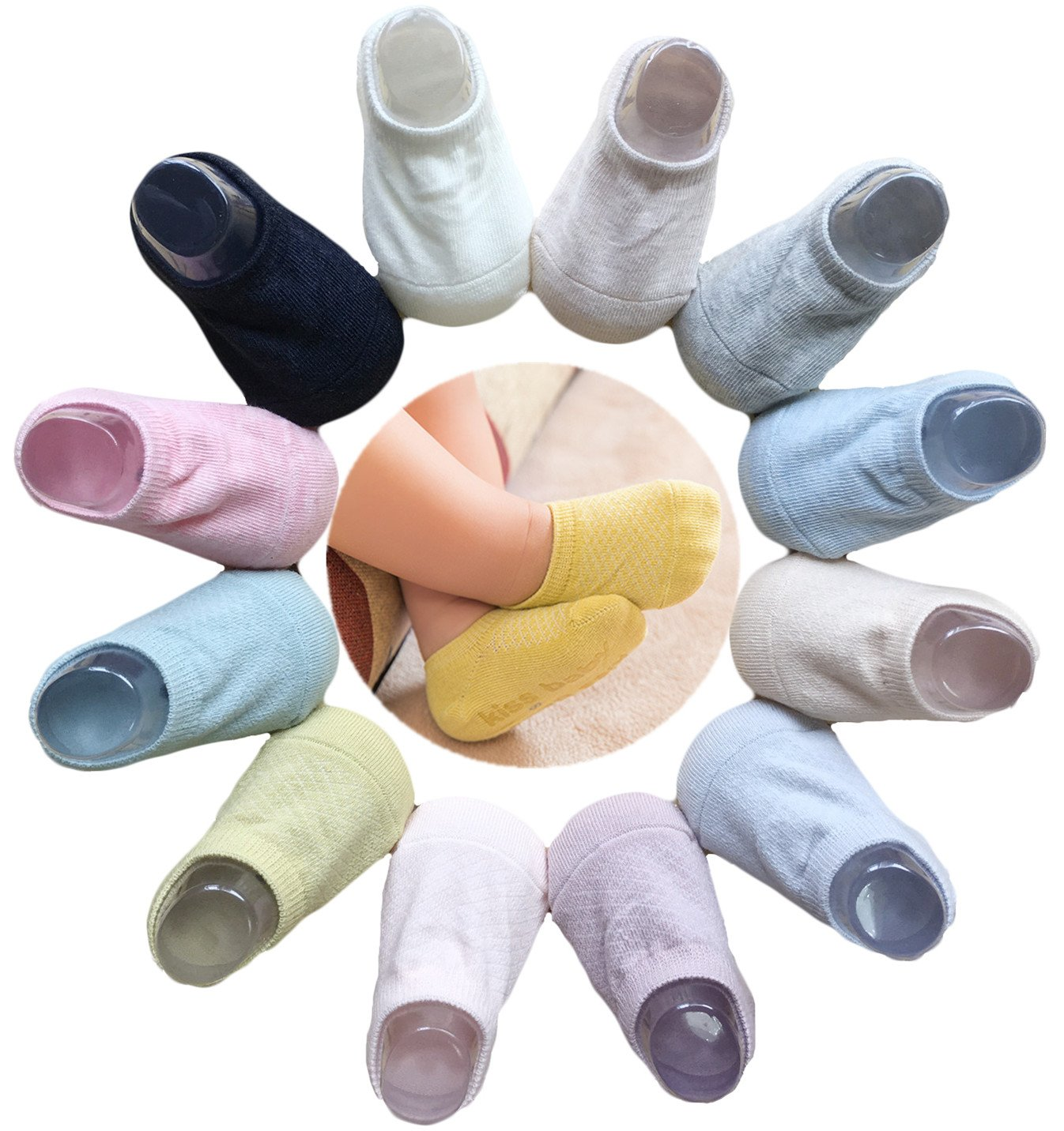 QandSweat Unisex Baby Anti Slip Foot Socks Toddler Non-skid Socks for Boy Girl and kids (12 Colors, 1-3T)