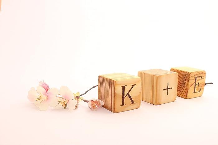 Amazoncom Personalized Wooden Blocks Hand Burned Blocks Letter