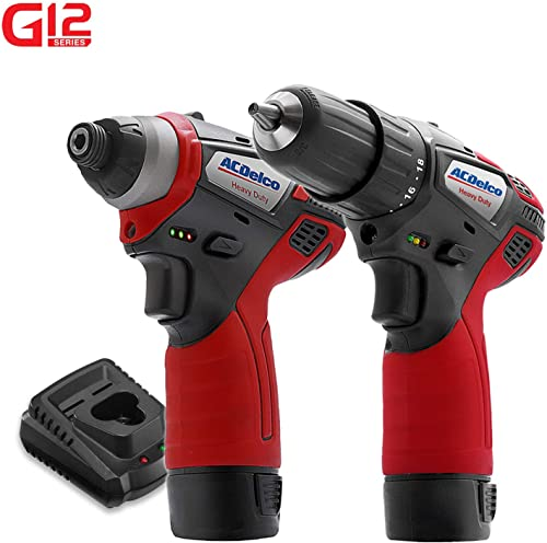 ACDelco G12 Series 2-Tool Combo Kit- 3 8 in 2-Speed Drill Driver 1 4 in. Hex Power Impact Driver, two battery, charger, ARI12105-K5