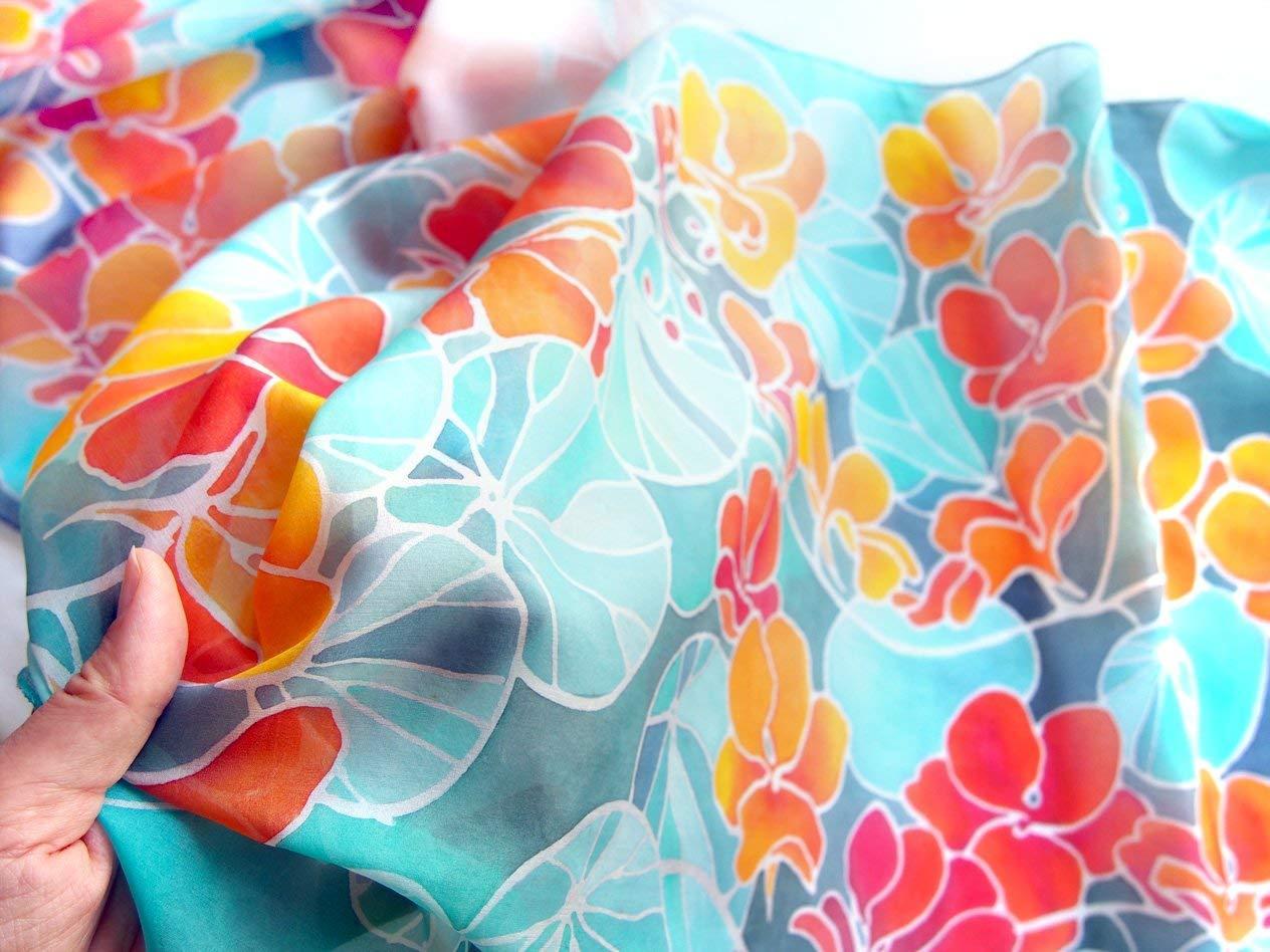 hand painted silk scarves floral design for women Nasturtium flowers scarf